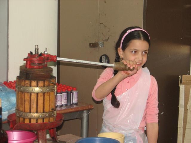 ילדה סוחטת את היין במכבש
